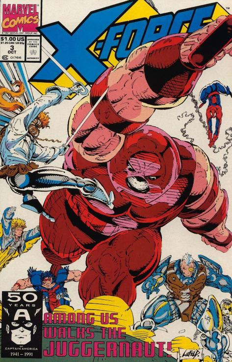 Again, I have to ask, where is Shatterstar jumping from?  Did Cable lend him his invisible trapeze?