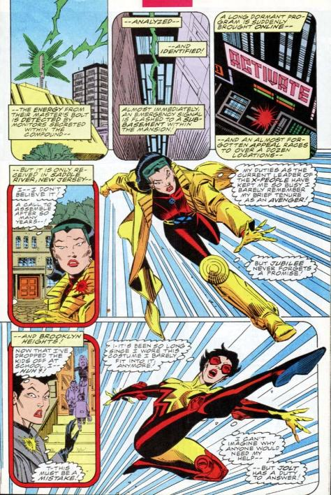 Poor Jolt.  She's somehow made to look less cool than Jubilee here, and making a cvharacter look less cool than Jubilee takes a lot of work.  Like, the amount of work it took to build the Hoover Dam work.