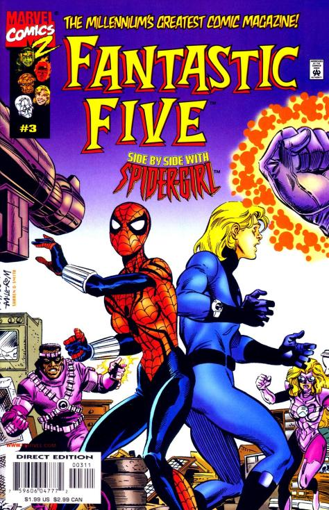 Spider-Girl and Franklin Richards are butt-touch dancing!  Is this a disco?