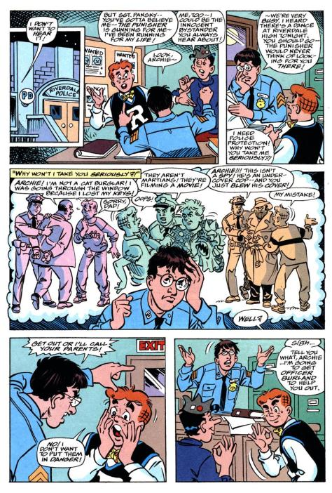 I am not sure that Archie blew that undercover cop's cover so much as the uniformed cop did when he informed the entire world that this guy wasn't a spy, but rather he was an undercover cop.