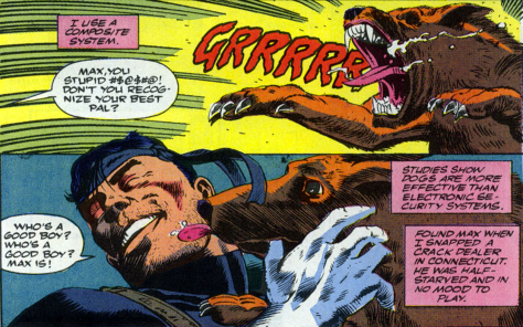 "It's impressive that in a comic involving him changing his race through plastic surgery, The Punisher asking his puppy, ""Who's a good boy?"""