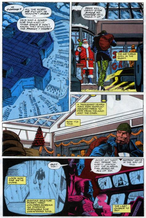 Also, Punisher mulls the evolution of mankind.  I can't tell if he thinks we have come a long way or if he thinks we are too far behind, but I can totally tell he hates the mall, which might be the last human quality Punisher has.
