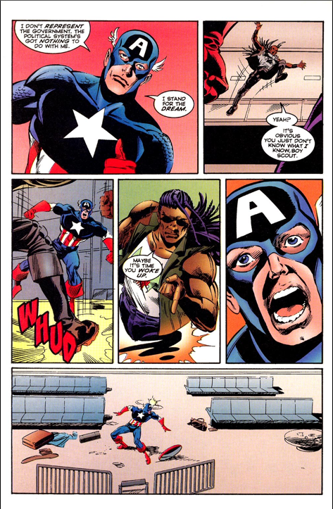 "I can tell I'm no longer my younger cynical 90's self because instead of thinking, ""Yeah, you tell that old jingoistic bastard!"" I just wanted to yell at Ryder not to talk to Captain America that way."
