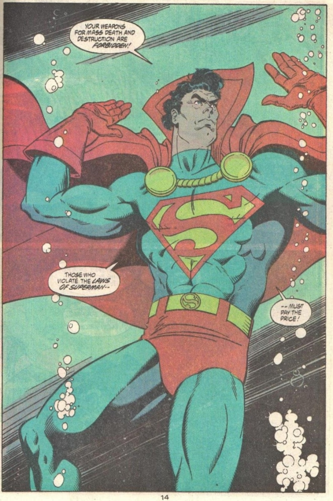 One of two times Superman is underwater in these issues, but not the one where he uses sunken treasure to support the Gold Standard.